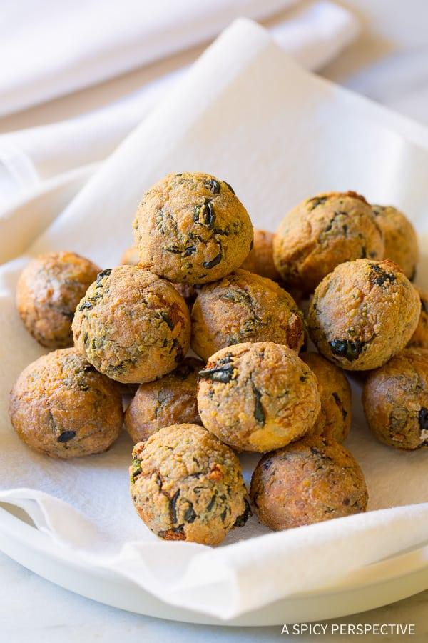 Use Up Holiday Leftovers: Make Cheater Potato Arancini Recipe on ASpicyPerspective.com