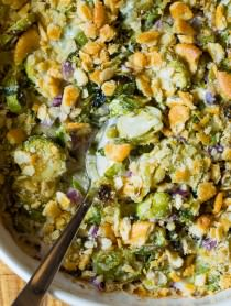 Love These Roasted Brussels Sprouts Gratin on ASpicyPerspetive.com #thanksgiving