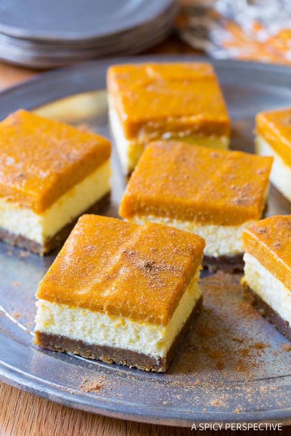 Fall Favorites: Layered Pumpkin Cheesecake Bars on ASpicyPerspective.com