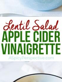 We love this Zippy Lentil Salad with Apple Cider Vinaigrette on ASpicyPerspective.com