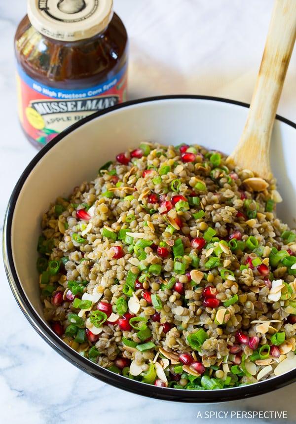 Healthy Lentil Salad with Apple Cider Vinaigrette on ASpicyPerspective.com