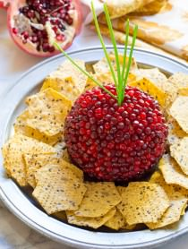 7-Ingredient Holiday Pomegranate Crusted Cheese Ball on ASpicyPerspective.com