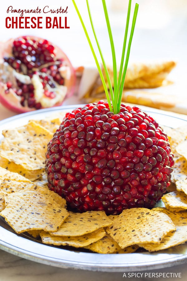 Our Favorite 7-Ingredient Holiday Pomegranate Crusted Cheese Ball Recipe on ASpicyPerspective.com