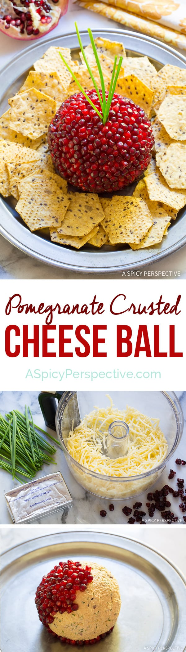 Easy to Make 7-Ingredient Holiday Pomegranate Crusted Cheese Ball Recipe on ASpicyPerspective.com