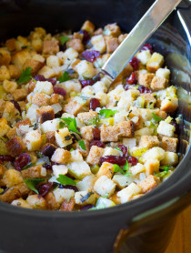 Tender Fluffy Slow Cooker Thanksgiving Stuffing Recipe on ASpicyPerspective.com
