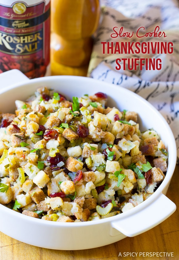 Love This Moist and Fluffy Slow Cooker Thanksgiving Stuffing Recipe on ASpicyPerspective.com