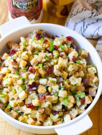 Moist and Fluffy Slow Cooker Thanksgiving Stuffing Recipe on ASpicyPerspective.com