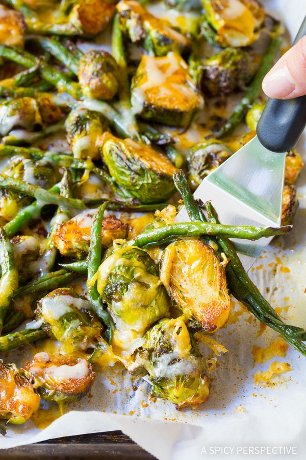 Roasted Southwest Brussels and Beans on ASpicyPerspective.com