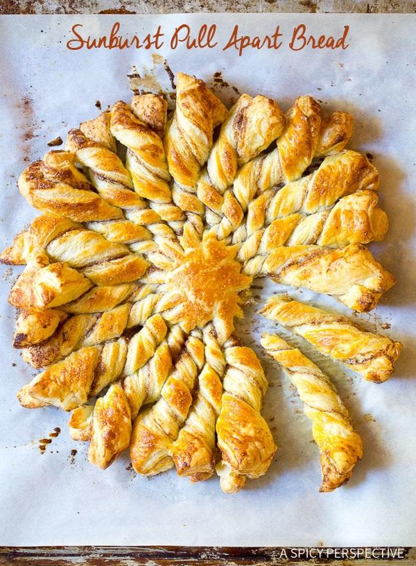 Quick Holiday Idea: Easy 4-Ingredient Sunburst Pull Apart Bread on ASpicyPerspective.com
