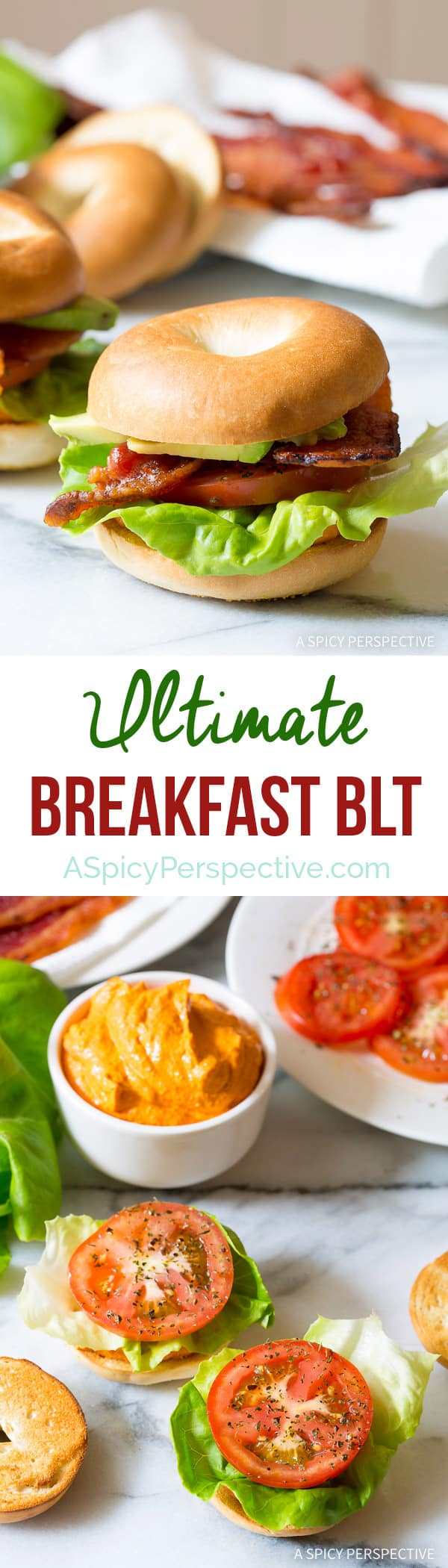 Loving this Ultimate Breakfast BLT with Creamy Roasted Red Pepper Spread on ASpicyPerspective.com