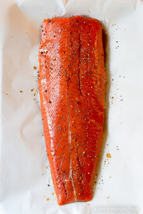How to Make 10-Ingredient Smoky Baked Salmon Recipe with Creamy Horseradish Sauce on ASpicyPerspective.com #holiday