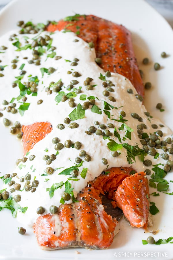 Dazzling 10-Ingredient Smoky Baked Salmon Recipe with Creamy Horseradish Sauce on ASpicyPerspective.com #holiday