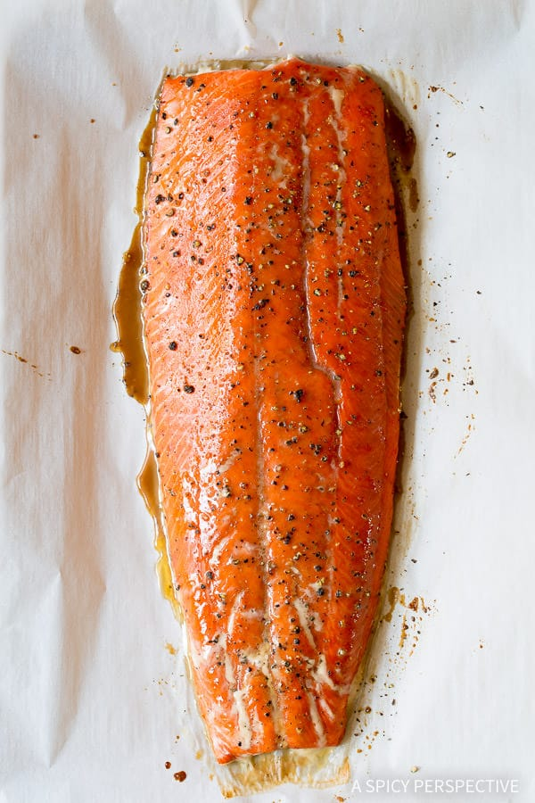 Making 10-Ingredient Smoky Baked Salmon Recipe with Creamy Horseradish Sauce on ASpicyPerspective.com #holiday
