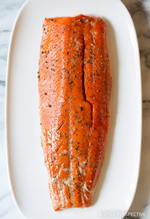 10-Ingredient Smoky Baked Salmon Recipe with Creamy Horseradish Sauce on ASpicyPerspective.com #holiday