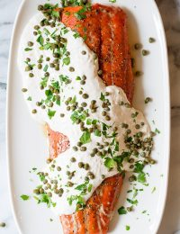 Craziy over this 10-Ingredient Smoky Baked Salmon Recipe with Creamy Horseradish Sauce on ASpicyPerspective.com #holiday