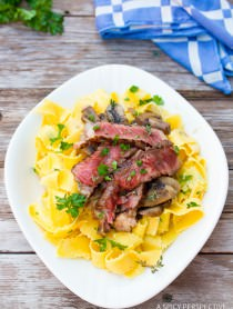 Easy Beef Stroganoff Recipe with Butter Noodles on ASpicyPerspective