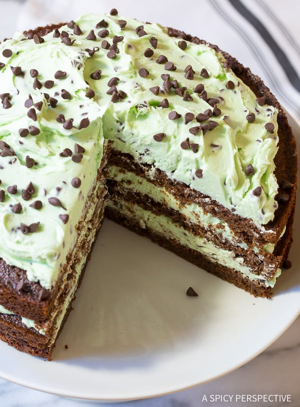 Easy to Make Brownie Cake with Mint Chip Frosting... Eeek!! On ASpicyPerspective.com #christmas #holidays
