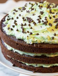 Dazzling Brownie Cake with Mint Chip Frosting... Eeek!! On ASpicyPerspective.com #christmas #holidays