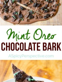 Amazing 3-Ingredient Mint Oreo Chocolate Bark Recipe on ASpicyPerspective.com. Gift for holiday parties and edible gifts!
