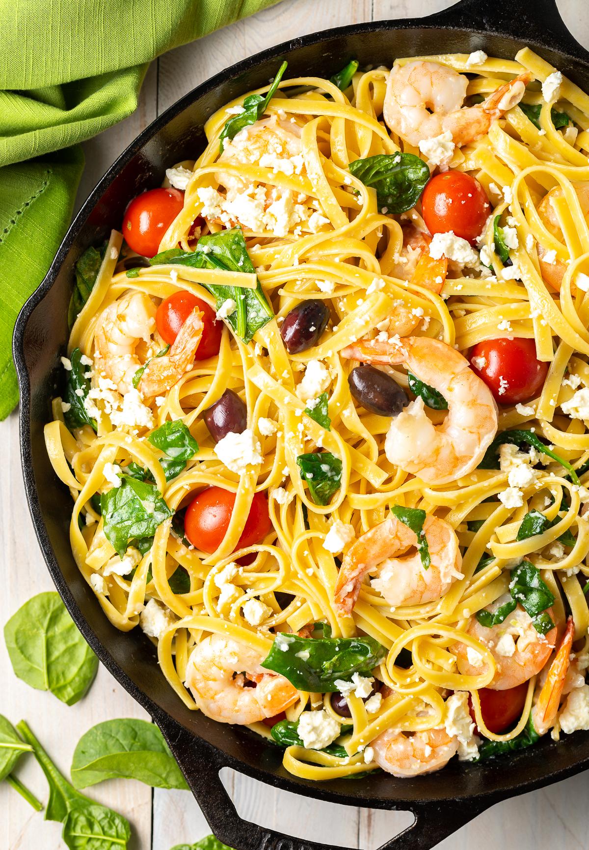 Creamy Greek Shrimp Pasta