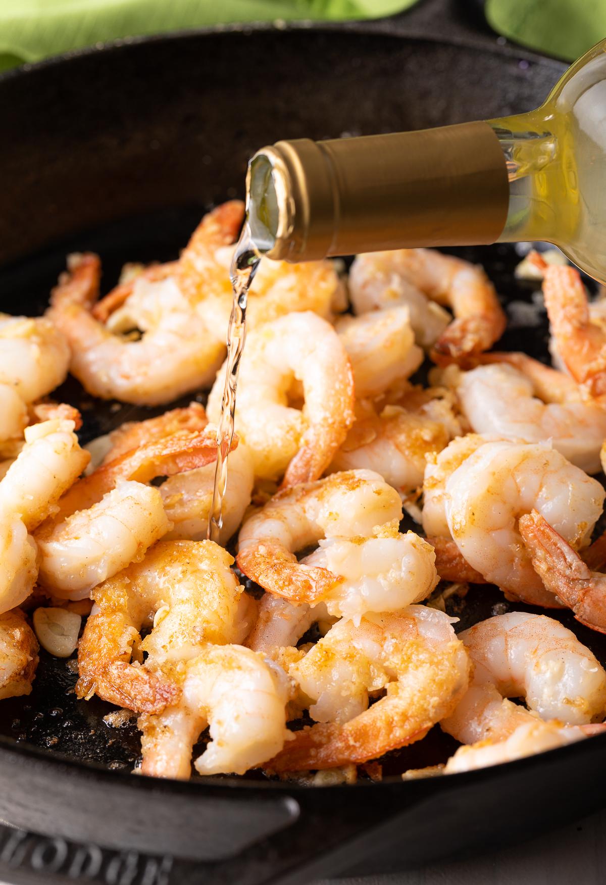 Making Greek Shrimp Pasta