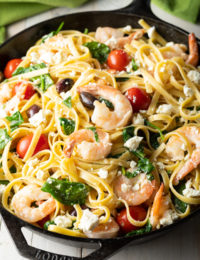 EASY Greek Shrimp Pasta on ASpicyPerspective.com