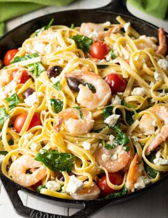 EASY Greek Shrimp Pasta on ASpicyPerspective.com