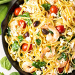 Greek Shrimp Scampi Pasta on ASpicyPerspective.com