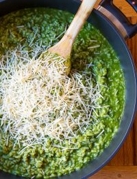 Vibrant Herbaceous Green Risotto Recipe on ASpicyPerspective.com