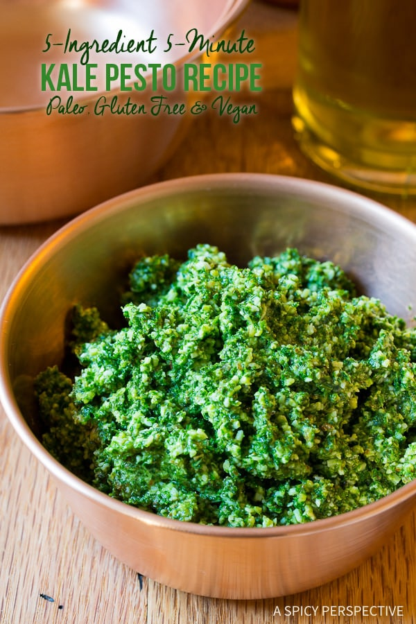 The Best 5-Ingredient 5-Minute Kale Pesto Recipe on ASpicyPerspective.com #paleo #glutenfree #vegan