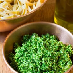 5-Ingredient 5-Minute Kale Pesto Recipe on ASpicyPerspective.com #paleo #glutenfree #vegan