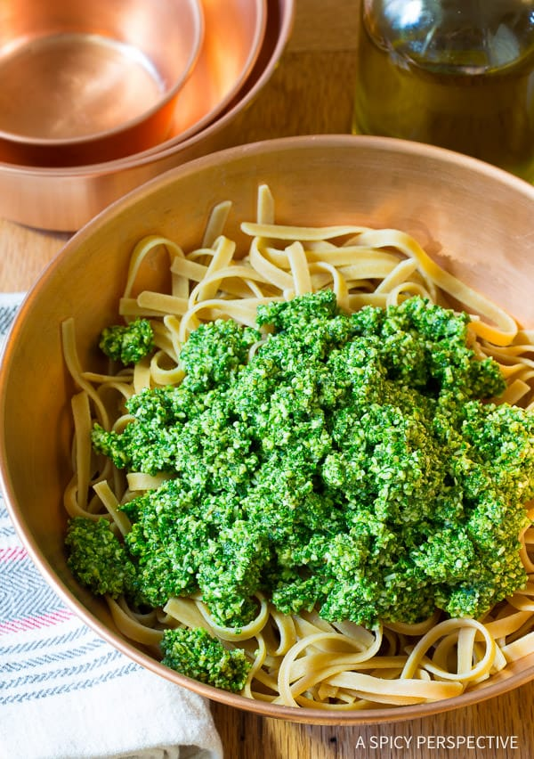 Crazy for Kale - 5-Ingredient 5-Minute Kale Pesto Recipe on ASpicyPerspective.com #paleo #glutenfree #vegan