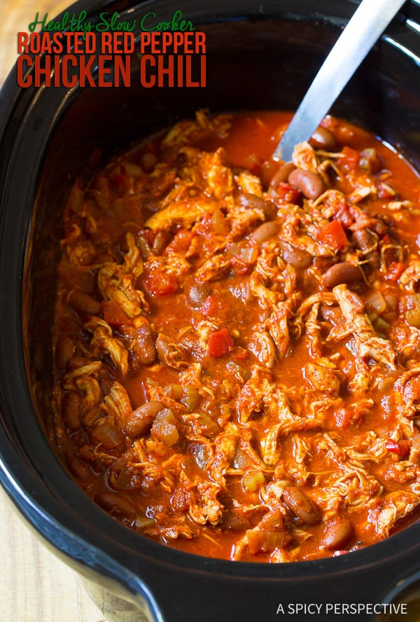 The Best! Healthy Slow Cooker Roasted Red Pepper Chicken Chili Recipe (Gluten Free & Dairy Free) | ASpicyPerpective.com