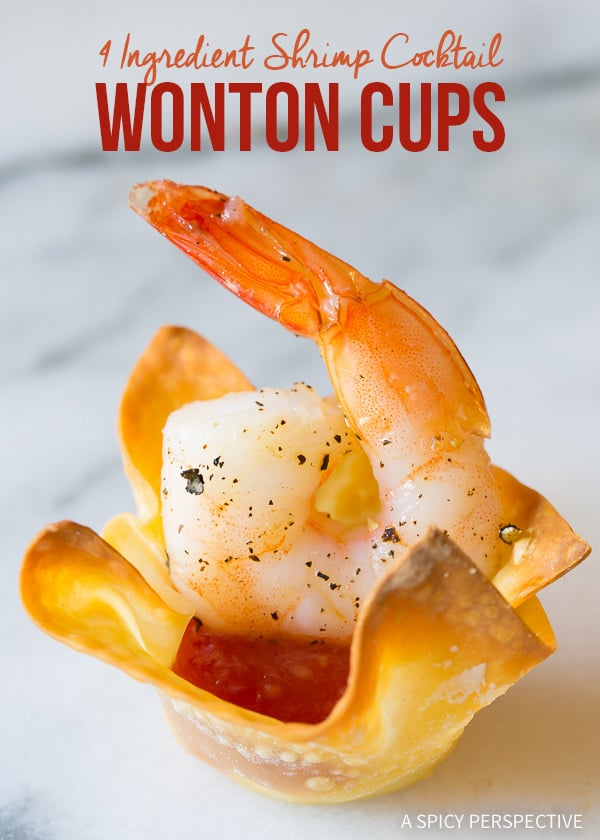 Fab 4-Ingredient Shrimp Cocktail Wonton Cups Recipe on ASpicyPerspective.com #holidays