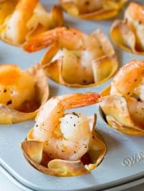 Easy 4-Ingredient Shrimp Cocktail Wonton Cups Recipe on ASpicyPerspective.com #holidays