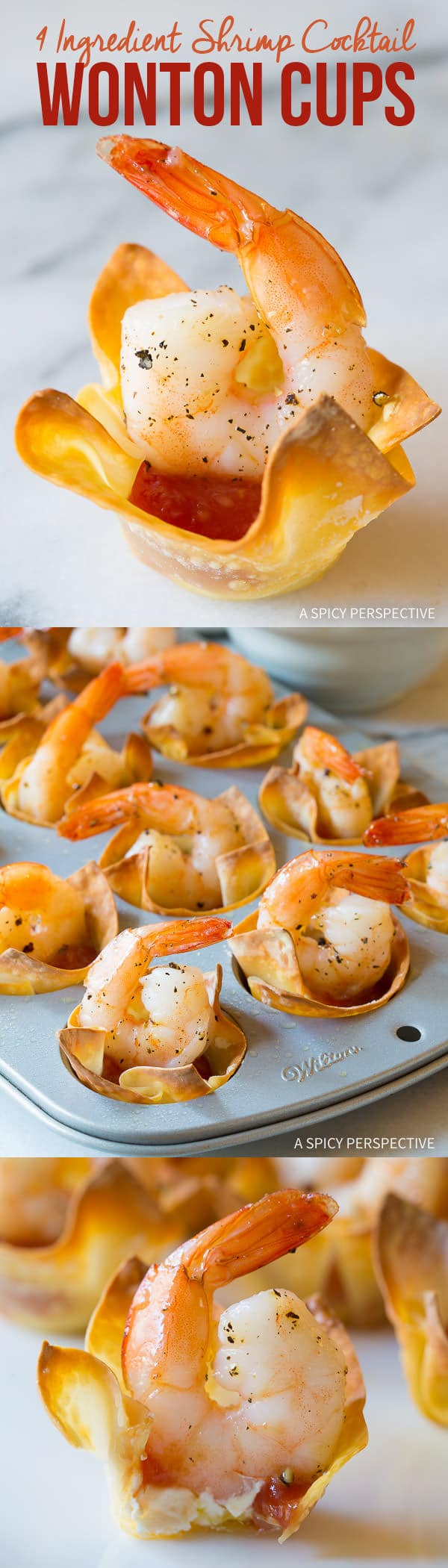 Fabulous 4-Ingredient Shrimp Cocktail Wonton Cups Recipe on ASpicyPerspective.com #holidays