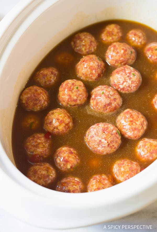 Saucy Slow Cooker Asian Meatballs Recipe on ASpicyPerspective.com