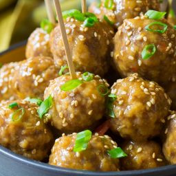 Easy Slow Cooker Asian Meatballs Recipe on ASpicyPerspective.com