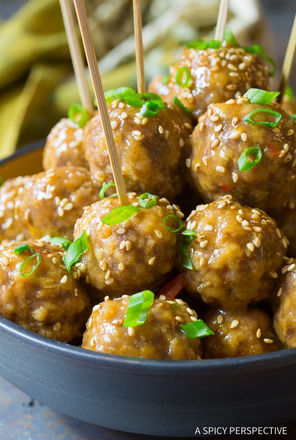 Easy Slow Cooker Asian Meatballs Recipe on ASpicyPerspective.com