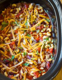 Comforting Slow Cooker Chili Mac and Cheese Recipe | ASpicyPerspective.com