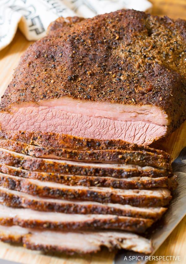 Smoky Texas Style Oven Brisket Recipe on ASpicyPerspective.com