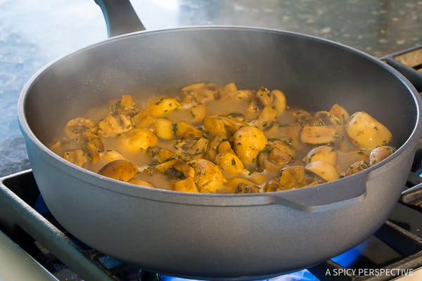 How To: BEST Sautéed Mushroom Recipe for topping steaks or risotto on ASpicyPerspective.com
