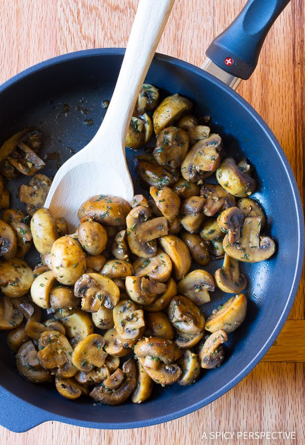 BEST Sautéed Mushroom Recipe for topping steaks or risotto on ASpicyPerspective.com