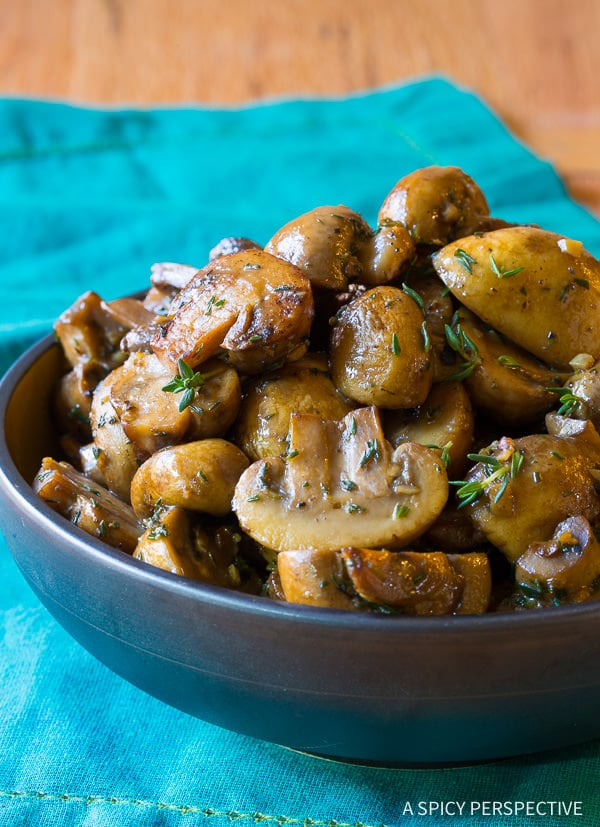 HEAVENLY Sautéed Mushroom Recipe for topping steaks or risotto on ASpicyPerspective.com