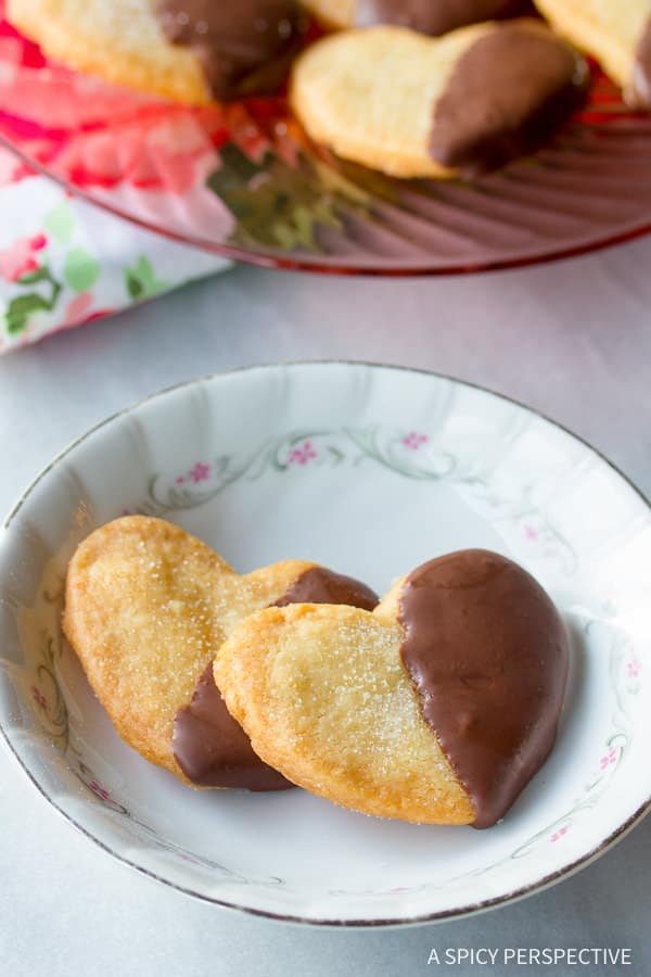 BEST Chocolate Dipped Salty Shortbread Cookies | ASpicyPerspective.com (Great for any holiday!)