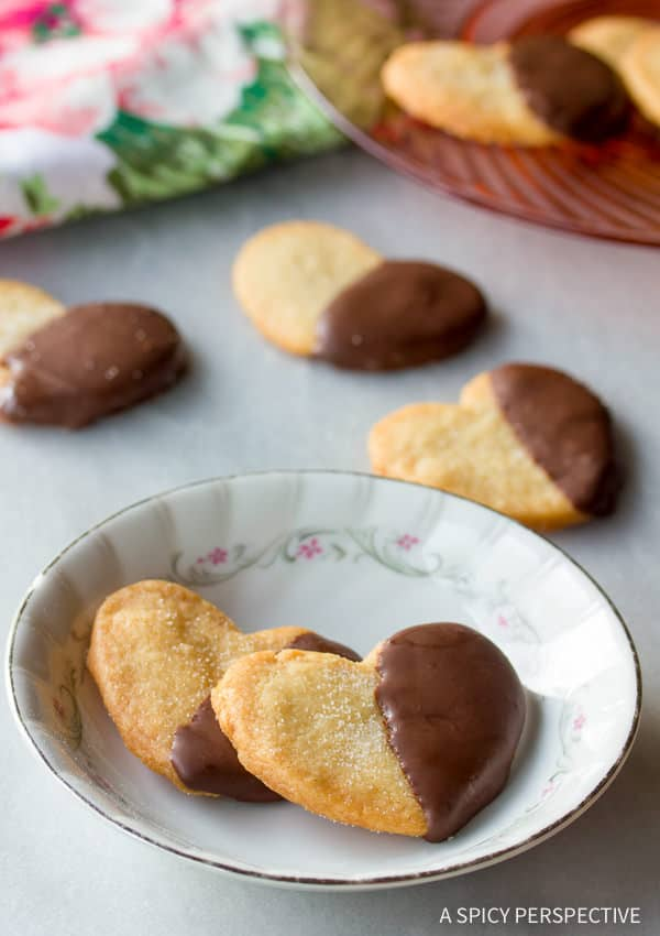 Crispy Chocolate Dipped Salted Shortbread Cookies | ASpicyPerspective.com (Great for any holiday!)