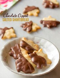 Irresistible Chocolate Dipped Salty Shortbread Cookies | ASpicyPerspective.com (Great for any holiday!)