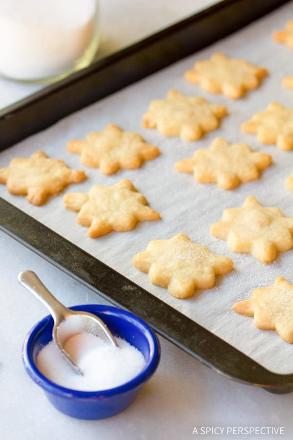 Easy Chocolate Dipped Salted Shortbread Cookies | ASpicyPerspective.com (Great for any holiday!)