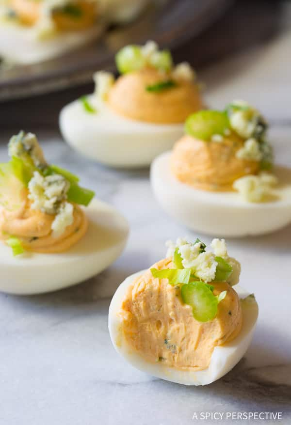 Easy Buffalo Ranch Deviled Eggs Recipe | ASpicyPerspective.com