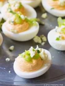 Rich Zesty 6-Ingredient Buffalo Ranch Deviled Eggs Recipe | ASpicyPerspective.com